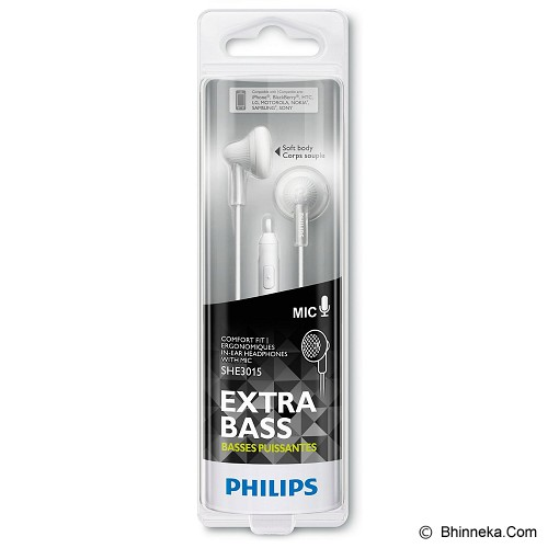 PHILIPS Ear Phone with mic [SHE 3015 WT] - White - Earphone Ear Bud